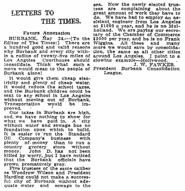 in this letter to the editor of the los angeles times fawkes cites his reasons why annexation makes sense